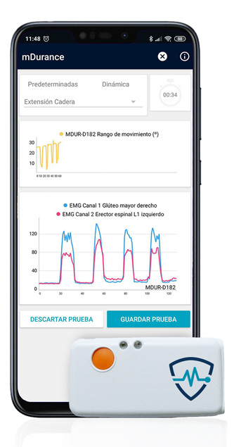 app movil y sensor inalámbrico mDurance fisioterapia